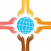sign of peace - the hands of representatives of different peoples of the world reach for the image o
