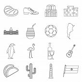 Argentina Travel Items Icons Set. Outline Illustration Of 16 Argentina Travel Items Icons For Web poster