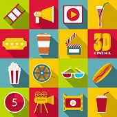 Movie Items Icons Set. Flat Illustration Of 16 Movie Items Icons For Web poster