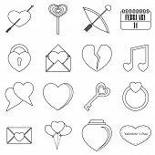 Saint Valentine Items Tools Set. Outline Illustration Of 16 Saint Valentine Items Icons For Web poster