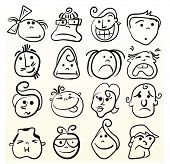 stock photo of sad faces  - Funny doodle face vector caricature - JPG