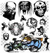Skull motorcycle graffiti vector art