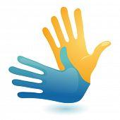 Símbolo de linguagem do surdo mão gesto. Vector de dois braços ícone do design