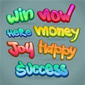abstract color words: success, happy, money, win, joy
