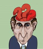 Conceptual vector illustration. Adult businessman and question marks inside his head. Choice problem