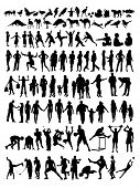 hundred of silhouette on people and animal