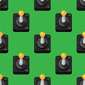 Game Joystick Console On Green Background, Retro Style, Seamless Pattern. Pattern Background Video G poster