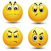 picture of depreciation  - Smiling balls with different face expression of envy - JPG