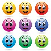 smiling balls in different colors