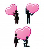 Pictogrammen die jong paar in liefde vertegenwoordigen