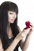 Beautiful Woman With Gift In Heart-shaped Box
