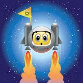 Smiley ball as astronaut