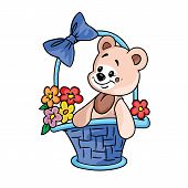 teddy bearwith flowersin giftbasket