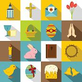 Easter Items Icons Set. Flat Illustration Of 16 Easter Items Icons For Web poster