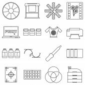 Print Items Icons Set. Outline Illustration Of 16 Print Items Icons For Web poster