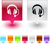 Call center glossy square web buttons.