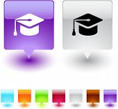 picture of graduation hat  - Graduation glossy square web buttons - JPG