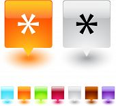 Asterisk glossy square web buttons.