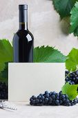 Bottle Of Red Mulled Wine Mockup For Your Logotype, White Paper Card For Text, Copyspace. Red Grapes poster