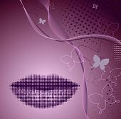 Beautiful abstract background with silhouette of women's lips. Vector