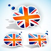 Flag of the United Kingdom. Speech bubble set