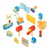 Poste Service Icons Set. Isometric Illustration Of 16 Poste Service Icons Set Icons For Web poster