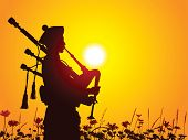stock photo of bagpipes  - Bagpiper - JPG