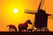 Antigo moinho de vento de fazenda