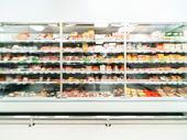 Defocused Blur Of Supermarket Shelves With Sausages. Blur Background With Bokeh. Defocused Image poster