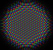Superfície côncava das esferas vermelhas, verdes e azuis, representando os Cones de uma Retina
