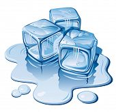 Stylized ice cubes on white background. Vector illustration