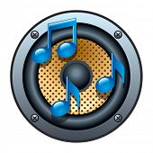 Audio Speaker Icon with musical notes on white background. Vector illustration