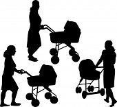 Mother with baby strollers silhouettes
