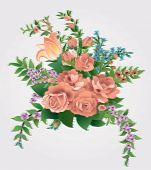 stock photo of gobelin  - Bouquet with roses in the style of the tapestry - JPG