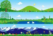 Three summer tranquil banners - vector illustration