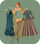image of bustiers  - Illustration of a beautiful woman in corset in vintage style - JPG