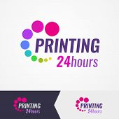 Colorful Logo For Printing Salon On Different Backgrounds. A Wonderful Logo For Use In Digital Print poster