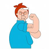 We Can Do It Old Woman Symbol Power Female. Pensioner Lady Showing Fist Isolated. Vector Illustratio poster