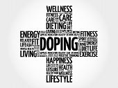 Doping Word Cloud, Health Cross Concept Background poster