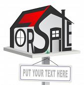 Vector house for sale sign on white background.
