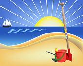 Vector illustration of sea ,sun and fun.