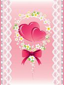 pink hearts with flora, lace and pink bow