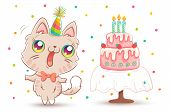 Vector Cute Cat With Strawberry Birthday Cake In Kawaii Style. Happy Birthday! White Kitty In Birthd poster