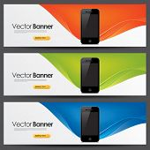 vector website headers, smart telefoon promotie banners