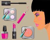 Conjunto de iconos de maquillaje: lápiz labial, esmalte de uñas, rimel y sombras de ojos