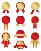 Classic gold and red awards on white background