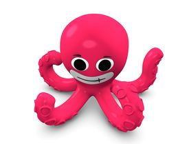 pic of kraken  - 3d rendering Cartoon concept illustration of octopus isolated on white - JPG