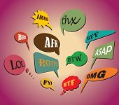 Most Commonly Used Chat And Online Acronyms And Abbreviations On Retro Style Speech Bubbles