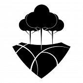 Black and white reforestation design concept.