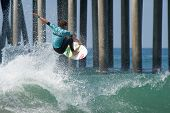 HUNTINGTON BEACH, CA - AUGUST 2: Jesse Mendes competes in the Nike US Open of Surfing in Huntington